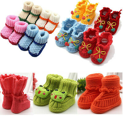 Winter Toddler Newborn Baby Buckle Handcraft Shoes Knitting Lace Crochet Shoes
