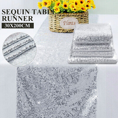 Champagne Gold Silver Sequin Table Runner Cloth Background Wedding Party Decor ()