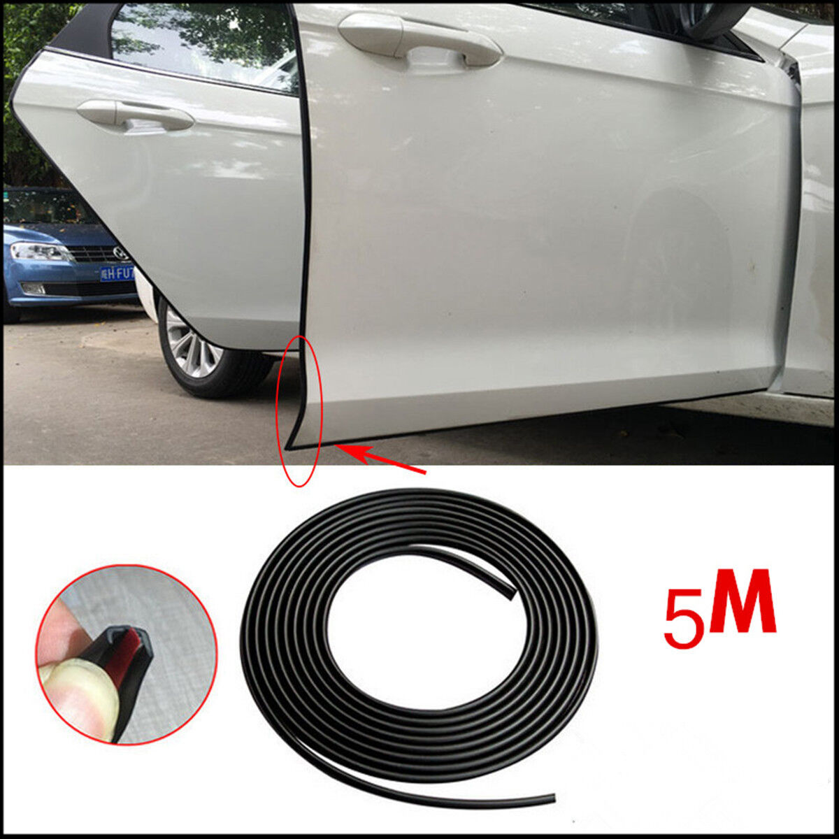 16FT/5M Car/Truck Adhensive Door Edge Guard Scratch Protector Molding Strip Trim