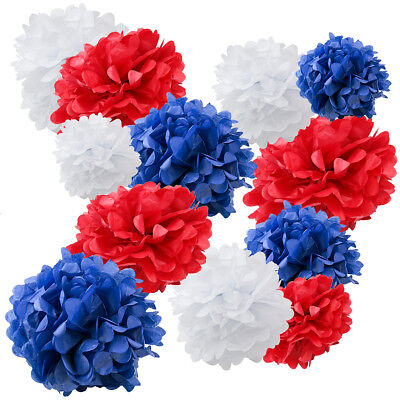 Paper Pom Poms Balls Birthdays Wedding Party Decoration Red White Blue - 12 PK - Pom Poms Blue And White
