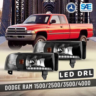 For 94-01 Dodge Ram 1500 2500 3500 Headlights LED DRL Front Lamp Black/Clear Set