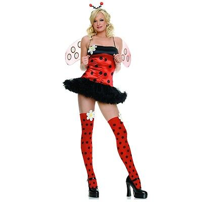 Sexy XS 4pc Daisy Lady Bug Dress with Stockings Women's Adult Halloween Costume