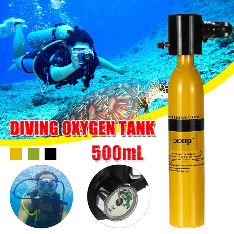 US 0.5L Mini SCUBA Tank Diving Oxygen Reserve Air Underwater Dive Equipment