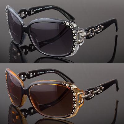 Women Rhinestone Fashion Square Bifocal Reading Sunglasses Sun Readers (Sunglasses Readers Women)