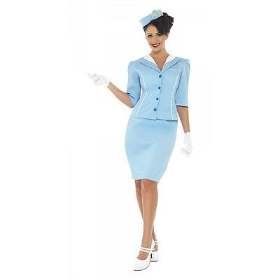 Flight Attendant Costume Retro Stewardess Halloween Fancy Dress