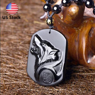 Natural Handwork Carved Black Obsidian Wolf Head Lucky Pendant W Beads Necklace