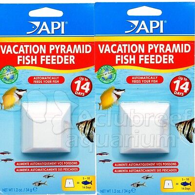 - 14 Day Dissolving Pyramid Block Fish Food Vacation Feeder Aquarium API 2 PACK