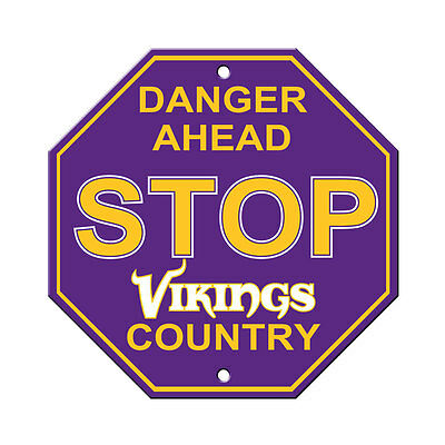 - New NFL Minnesota Vikings Home Office Bar Decor STOP Sign 12