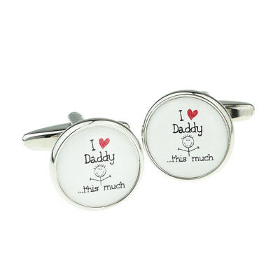 Cute I Love Daddy This Much Mens Cufflinks Cuff Links Gift