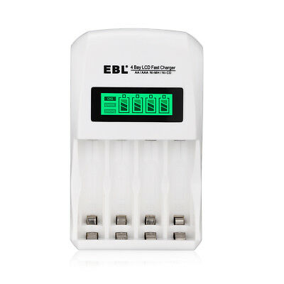 EBL LCD Smart Individual AA AAA Rechargeable Battery Charger for Ni-MH Ni-CD USA