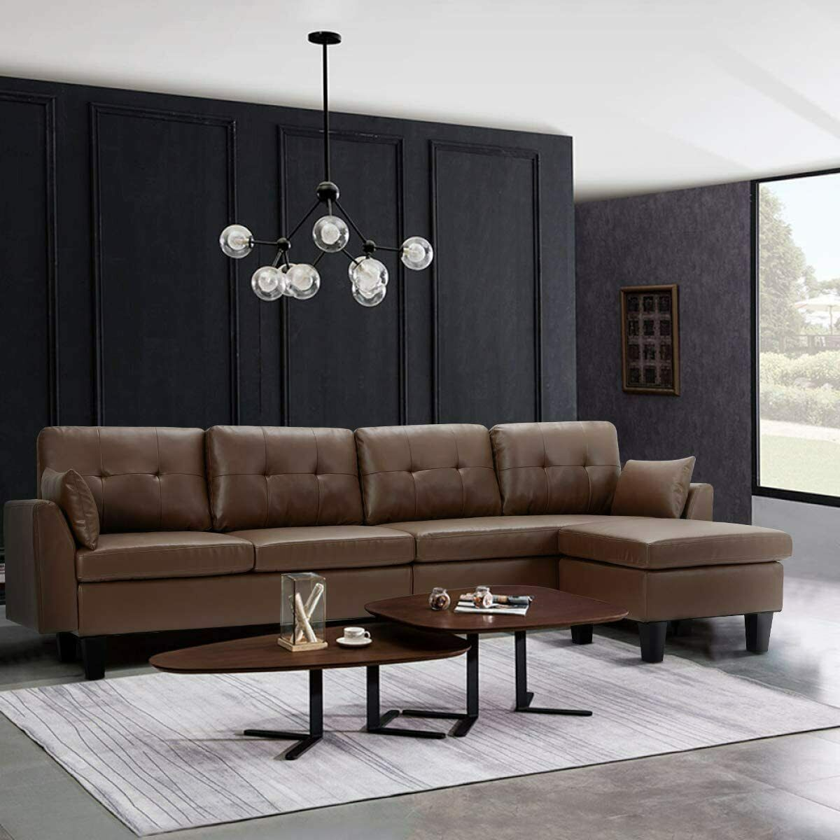 Esright 4-Seat Convertible Sectional Sofa Couch, L-Shaped Sofa Couch, Brown Furniture