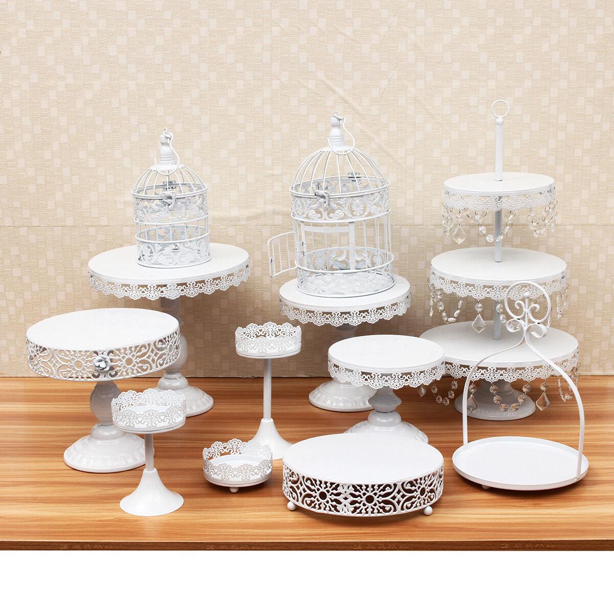 12Pc White Metal Crystal Cake Holder Cupcake Stand Dessert Display ...