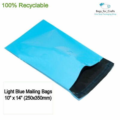 25 Recyclable Plastic Poly Mailing Bags Light Blue 10 x14