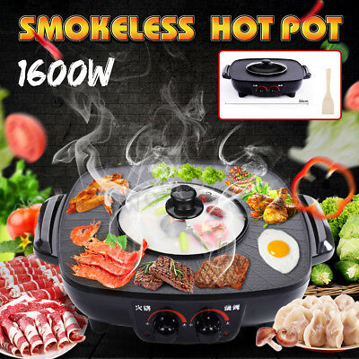 220V Electric Smokeless Nonstick Barbecue Pan Multifunction Roasted Hot Pot 50Hz (220v Pan)