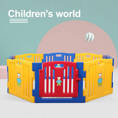 8 Panel Baby Safety Playpen Kids Play Center Yard Indoor&Outdoor Home Fence Pen