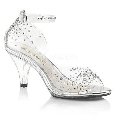 Clear Cinderella Shoes Disney Princess Wedding Glass Slippers Heels Womans 7 8 -