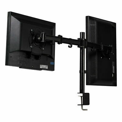 Steel Dual Monitor Arm Desk Table Mount Stand 2 LCD Fully Swivel Clamp up to 27