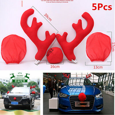 Halloween Costumes Tacoma (Car Costume Christmas Decoration 2pcs Antlers+Nose+2pcs Rearview Mirror)