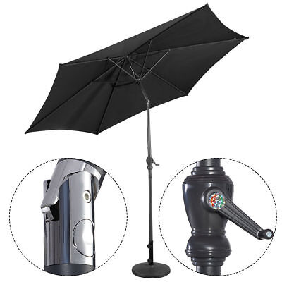 3M Steel Parasol Metal Crank Garden Umbrella Shade Outdoor Sunshade Black