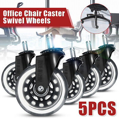 Set Of 5 3 Office Chair Caster Rubber Swivel Wheels Replacement Heavy Duty