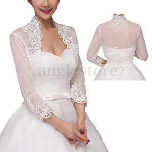 Lace White Short Sleeve Bridal Shawl Tulle Jacket Wedding Bolero Prom Cape Wrap