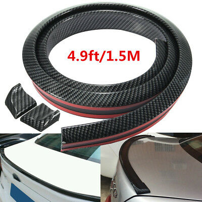 Car Auto Wing - 4.9ft/1.5M Carbon Fiber Car Rear Roof Trunk Spoiler Wing Lip Sticker -USA Stock