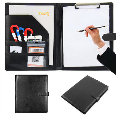 A4 Pu Leather Zipped Conference Folder Business Portfolio Bag Document Organiser