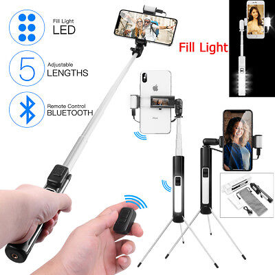 Bluetooth Selfie Stick Stange Stativ Monopod Handy Halterung für Android iPhone Mono Clip