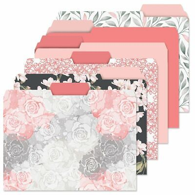 Decorative Pink Coral File Folders Colorful Set Of 24 Designs Documents Storage