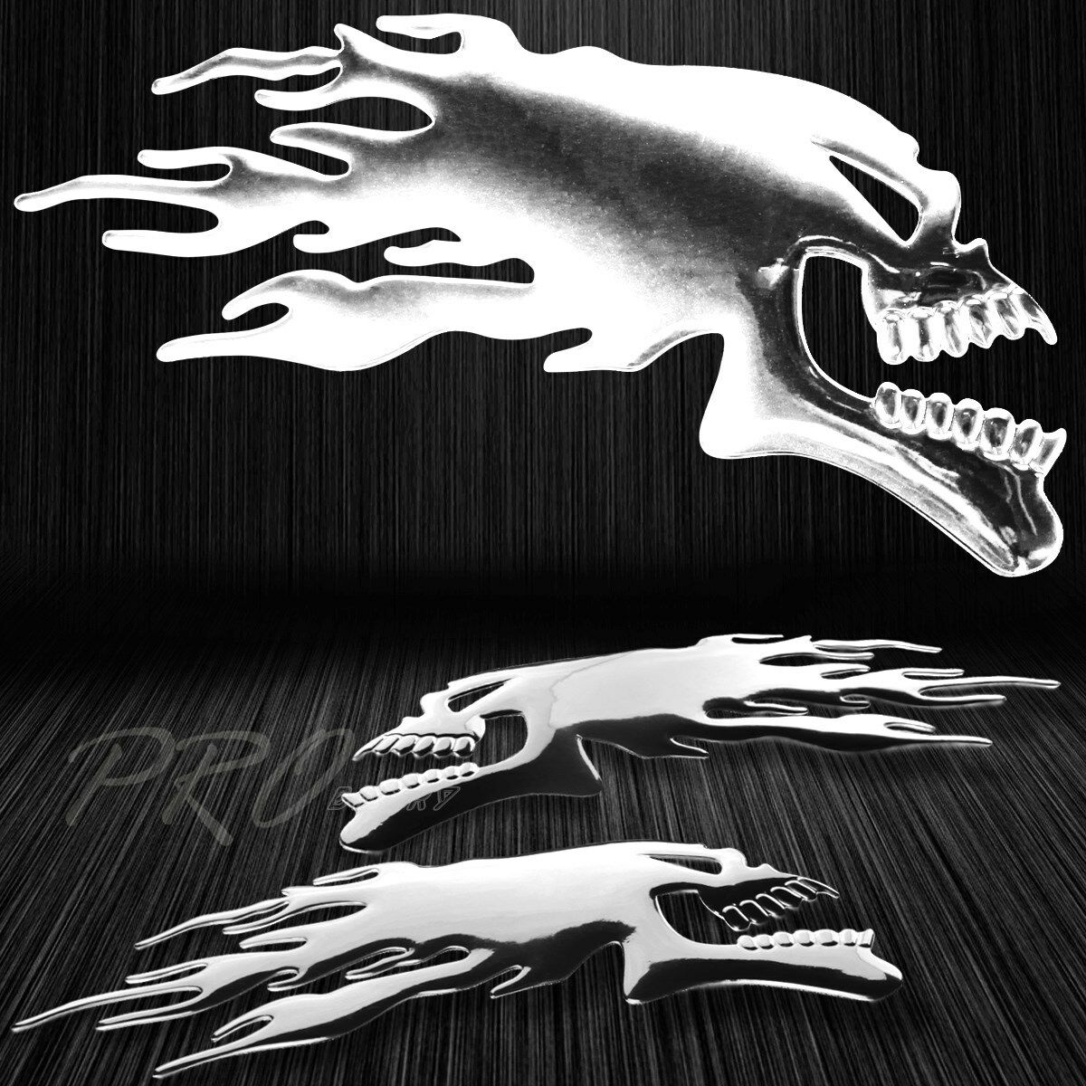 Details about 2x 6x 2 1 4 3d abs emblem decal logo glossy sticker fire skull skeleton chrome
