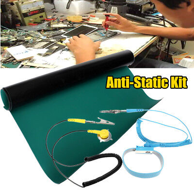 Esd Anti Static Desktop Wrist Strapground Wire Grounding Mat Green For