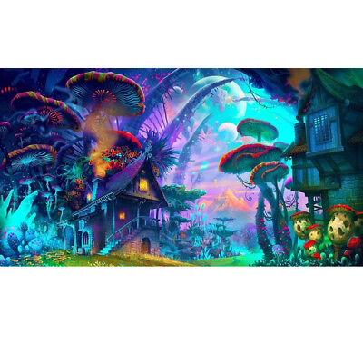 Art Silk Poster Psychedelic Mushroom Town Fabric Wall Home D
