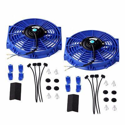"2X 10"" Universal Slim Fan Push Pull Electric Radiator Cooling 12V Mount Kit Blue"