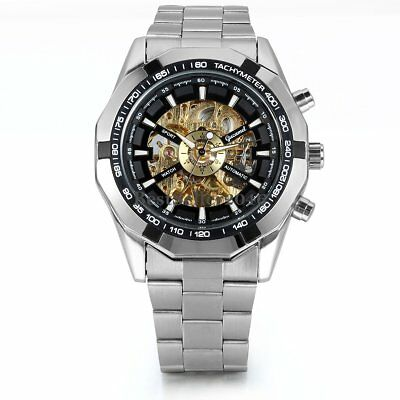 Skeleton Dial Automatic Mechanical Watch Mens Stainless Steel Band Wrist Watch