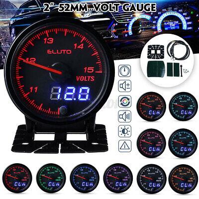 Eluto Universal 2'' 52mm Car Volt Voltmeter 12v Voltage Gauge Meter 10 Color Led