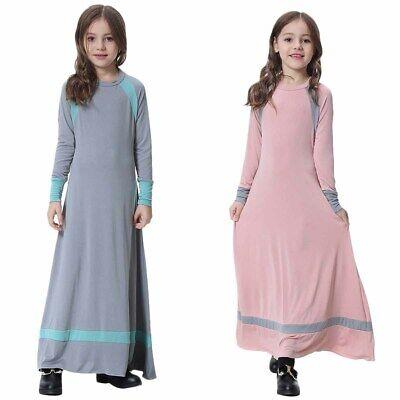 Dubai Abaya Muslim Girls Dress for Kids Islamic Prayer Kaftan Maxi Gown Clothing