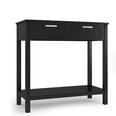 Accent Console Table Entryway Sofa Foyer Modern Shelf W/2 Drawers Black Home
