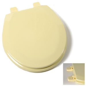 Deluxe Citron Yellow Round Wood Toilet Seat, Adjustable Hinges