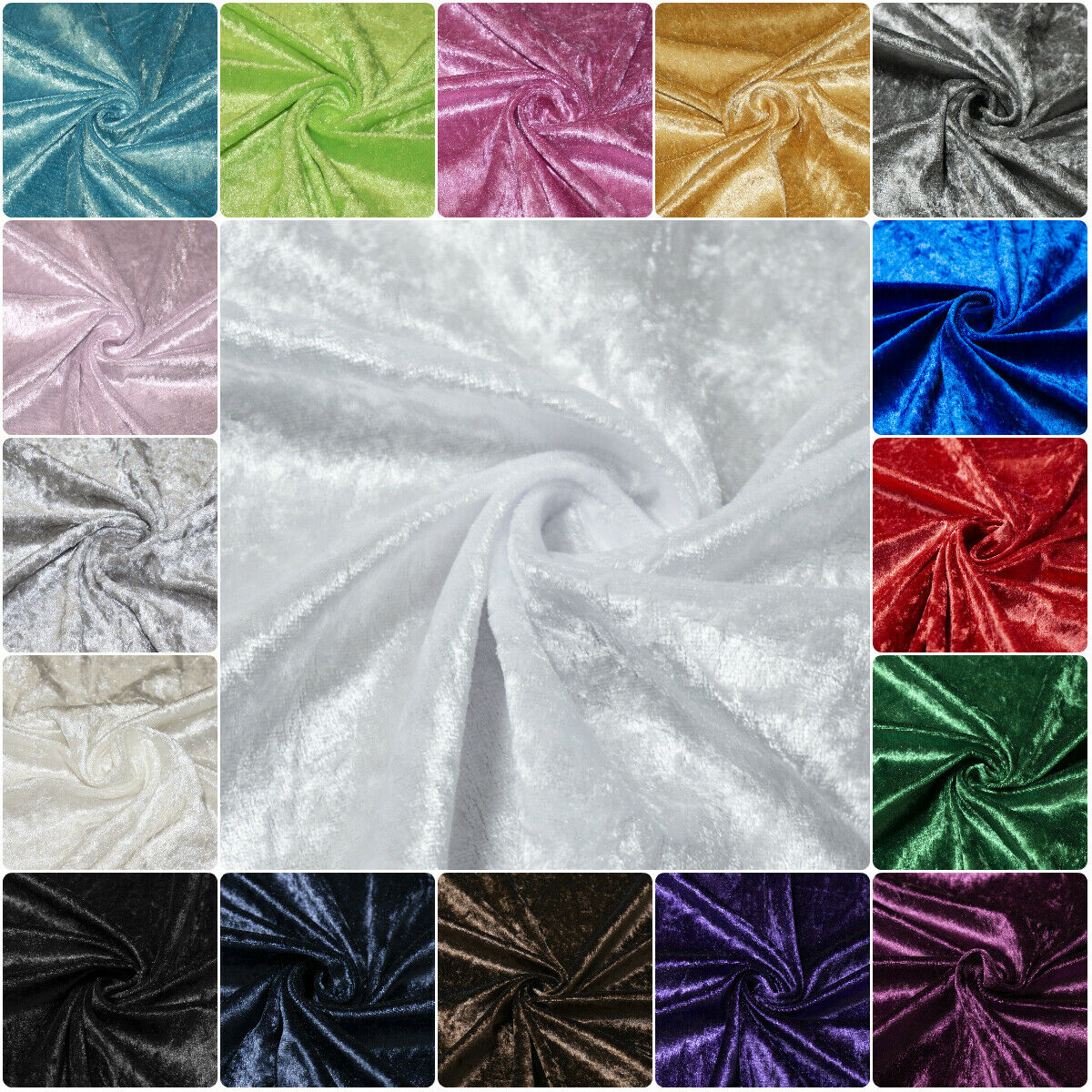 White Crushed Velvet Fabric Upholstery Material Premium Stretch Craft 150cm Wide