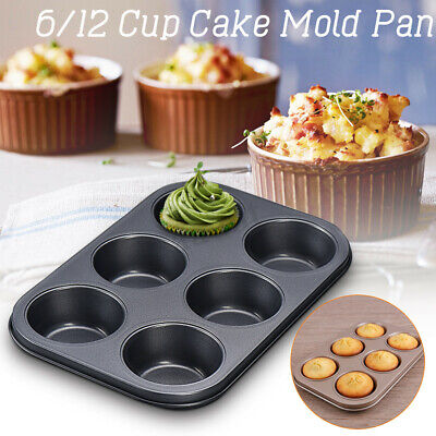 6/12 Cup Cake Mold Pan Nonstick Muffin Cupcake Mould Tray Baking Bakeware Tool