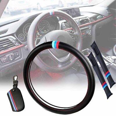 (4x Car Steering Wheel Cover+Seat Gap Filler Leakproof Pad+Key Holder Bag For BMW)