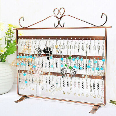 72 Holes Earring Jewelry Necklace Display Rack Metal Stand Holder Organizer