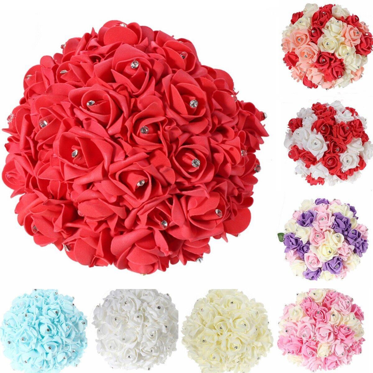 30pcs Crystal Wedding Bridal Bridesmaid Flower Craft Foam Roses Bouquet Posy US