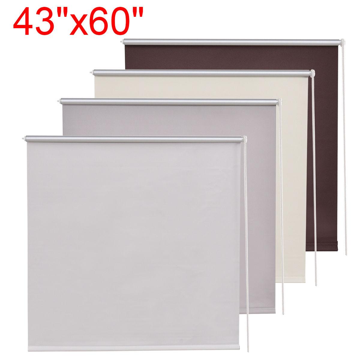 "43""x60"" Roller Full Blinds Sunscreen Blackout Sun Shade Curtain Window 4 Colors"