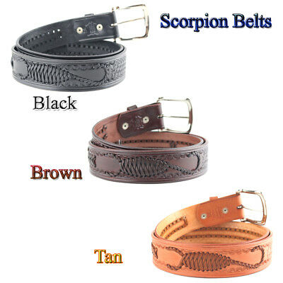 Embossed Hand Woven Genuine Leather Scorpion Belt 1-1/2