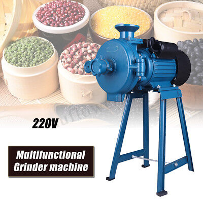 220V Electric Feed/Flour Mill Cereals Grinder Grain Corn Coffee Wheat Wet&Dry US
