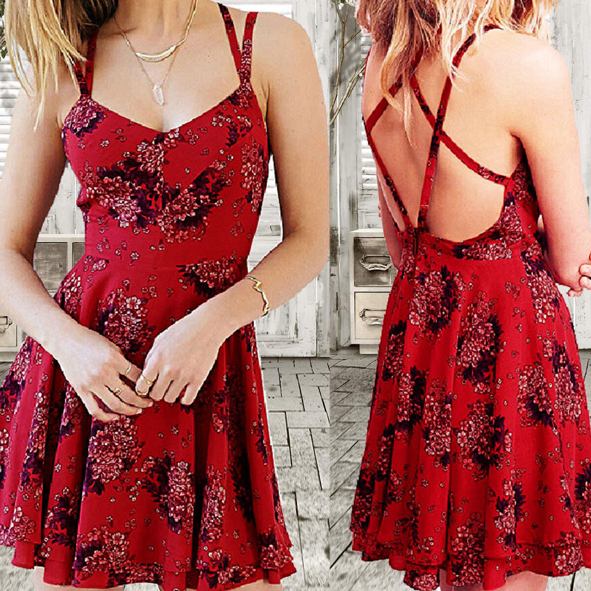 New Red Women Backless Beach Holiday Boho Strapless Print Chic Short Dress US Clothing, Shoes & Accessories