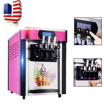 Us Commercial Soft Ice Cream Making Machine Desktop Automatic Drum 3 Flavors