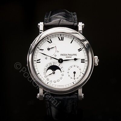 Patek Philippe 18k White Gold Officer's 'Complicated 5054G' Moonphase Strapwatch