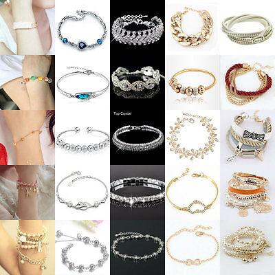 Charm Girl's Crystal Rhinestone Gold/Silver Plated Chain Bangle Bracelet Jewelry